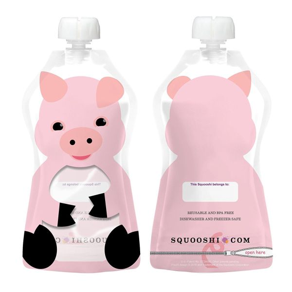 a squooshi refillable pouch that is decorated like a pink pig