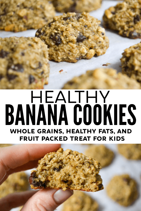 pinable image with the words healthy banana cookies with 2 images of banana cookies on parchment lines cookie sheets