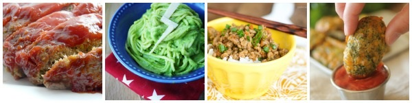 a collage of hidden vegetable recipes with broccoli- meat loaf, green spaghetti, rice, and tater tots