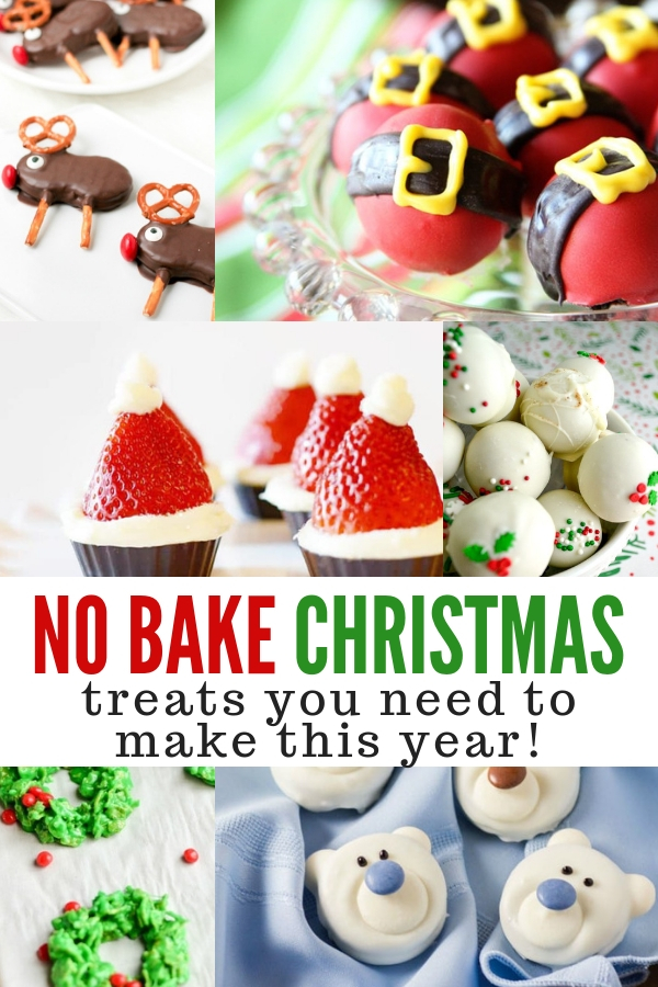 A collage of different no bake Christmas treats