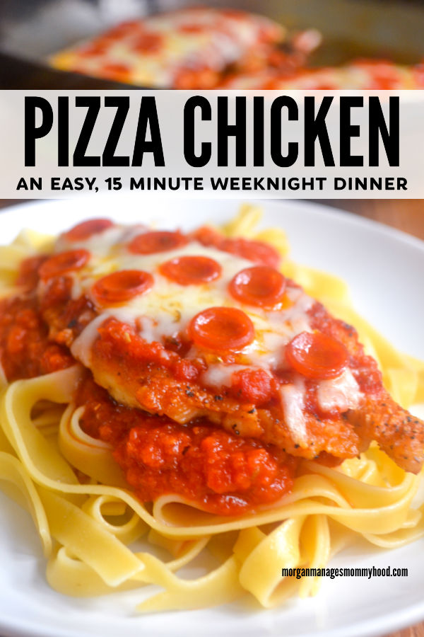 a plate with pizza chicken on a plate with noodles, with a pan that the pizza chicken was cooked in in the background