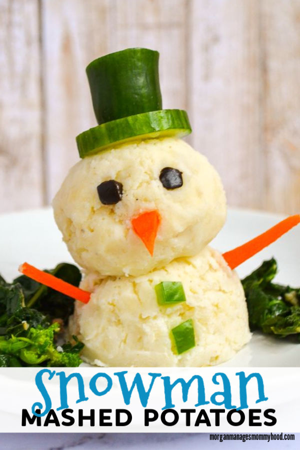 a pinable image showing a snowman made out of mashed potatoes with a cucumber hat and carrot arms