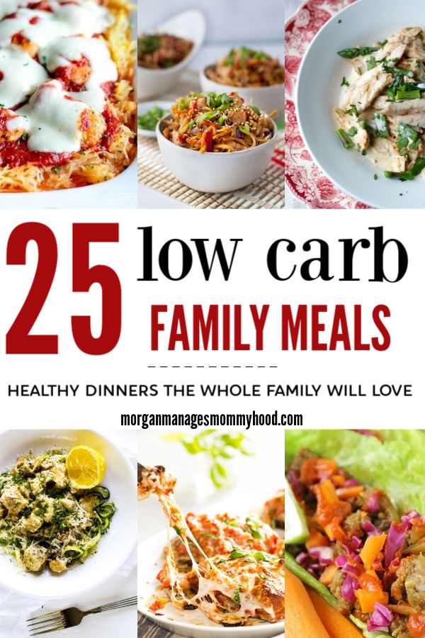 a pinable collage with 6 images of loc carb family meals that are both kid friendly and healthy, including chicken parm casserole, sesame chicken bowls, and chicken alfredo
