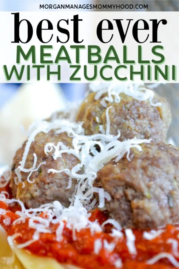 a pinable image with meatballs with zucchini topped with grated Parmesan cheese on top of tomato sauce