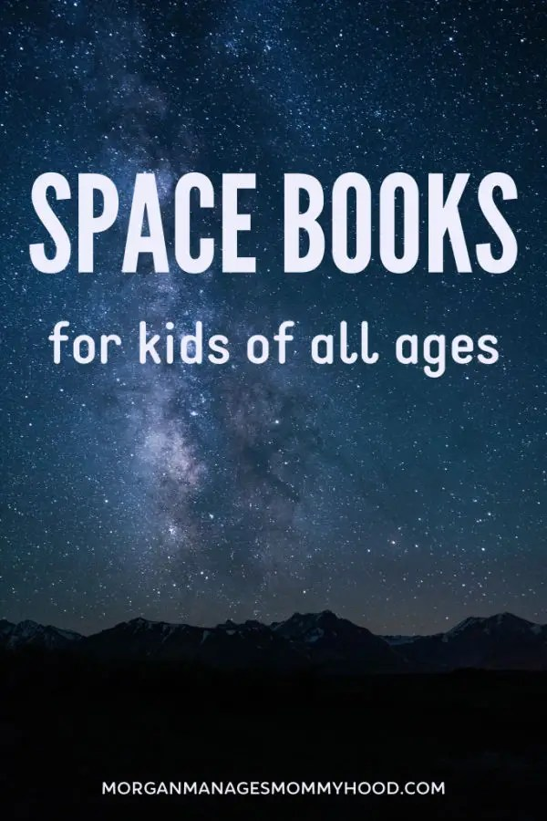 wide open dark blue night sky wiht lots of stars and the words space books for kids of all ages