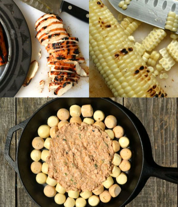 a collage of process photos showing how to make cheesy bbq chicken dip - the dip assembled before it was baked, grilled chicken being chopped, and charred corn