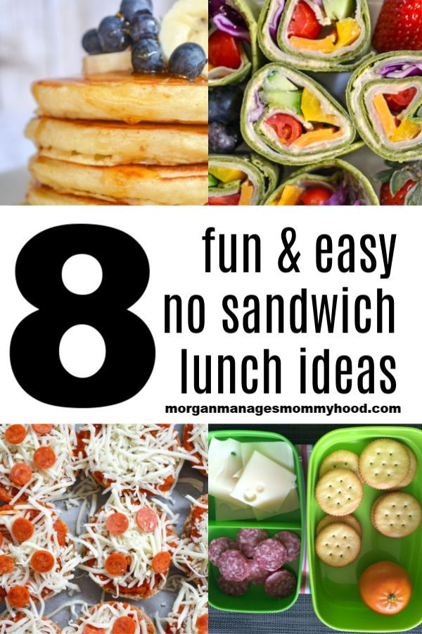 a collage of no sandwich lunch ideas with text overlay reading 8 fun and easy no sandwich lunch ideas