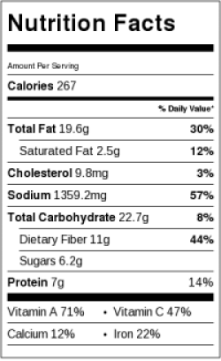 Chopped Italian Salad Nutrition Label