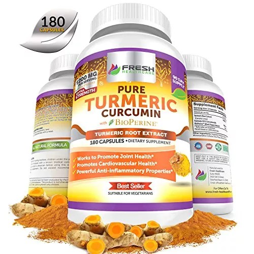 Fresh Healthcare Non-GMO, Gluten Free Pure Turmeric Curcumin Powder with BioPerine and Black Pepper – 180 Vegan Capsules