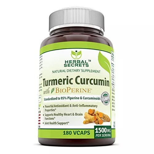 Herbal Secrets Turmeric Curcumin with Bioperine Dietary Supplement – 1500mg per Serving, 180 VCaps Per Bottle