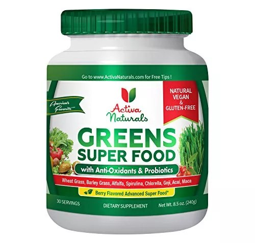 Activa Naturals Greens Superfood Powder – Vegan & Gluten Free 8.5 oz (240 gm) – Raw & Organic Green Foods with Amazing Wheat Grass, Spirulina, Raspberry, Enzymes & Probiotics – Natural Berry Flavor