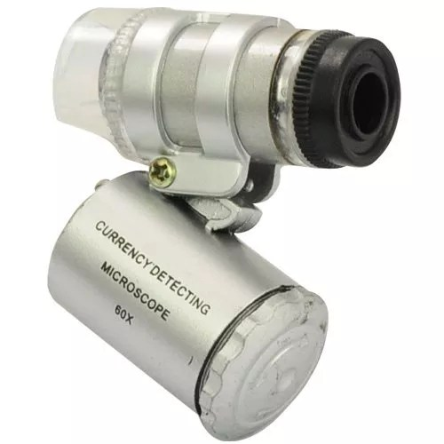 Forrader® 60X Mini Pocket Microscope Loupe with UV Currency Detector & 2-LED White Lights