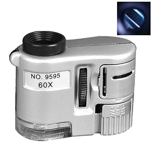 60X LED+UV Jewelry Loupe Mini Pocket Microscope Coin Stamp Magnifier (Sliver)