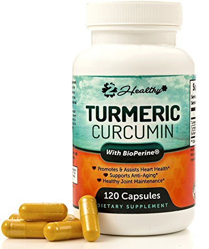 2Healthy Turmeric Curcumin with BioPerine Black Pepper 1400mg Dietary Supplement, 120 Veggie Capsules