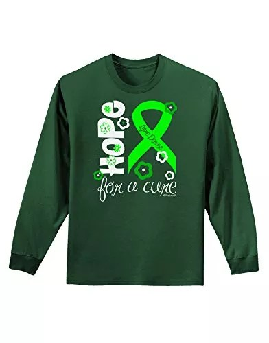 TooLoud Hope for a Cure – Lime Green Ribbon Lyme Disease – Flowers Adult Long Sleeve Dark T-Shirt – Dark Green – 2XL