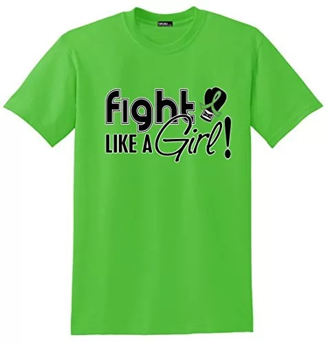 Fight Like a Girl Lymphoma Lyme Disease Muscular Dystrophy T-Shirt Lime Green [2X]