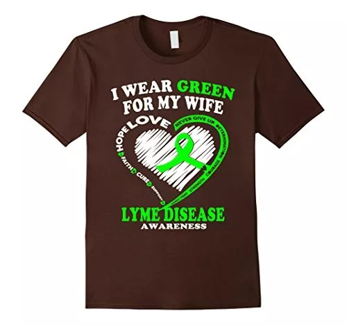 Men's Lyme Disease Awareness Shirt – I Wear Green For My Wife XL Brown
