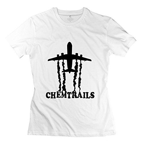HappWan Women's Jet Life – Chemtrails (Black) T-shirt – XXL White