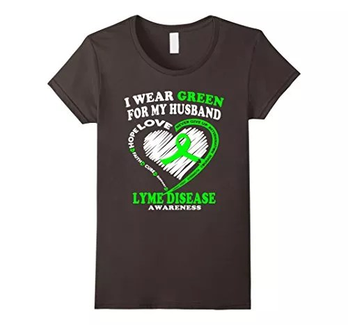 Women's Lyme Disease Awareness Shirt – I Wear Green For My Husband XL Asphalt
