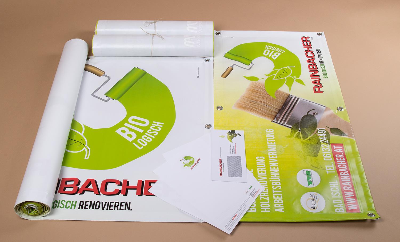 Banner, Transparente, Briefpapier und Kuverts für Rainbacher KG - MORI Werbung & Fotografie