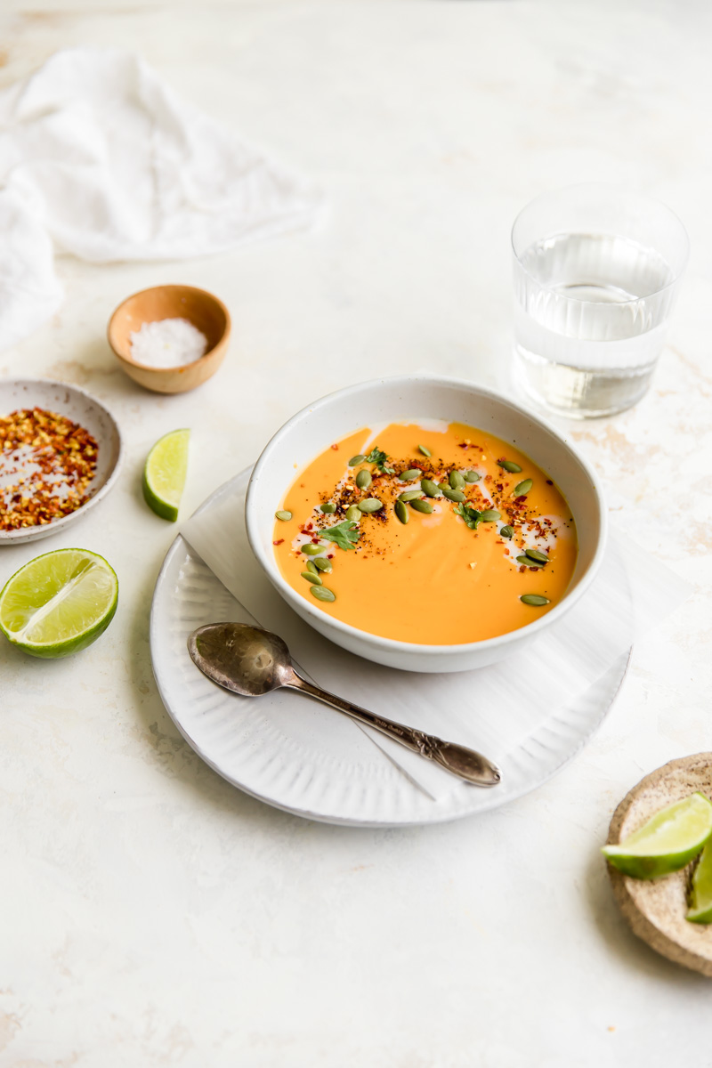 This Dairy Free Curried Sweet Potato Soup is an easy, whole-30 approved soup option that makes a fast weeknight meal!