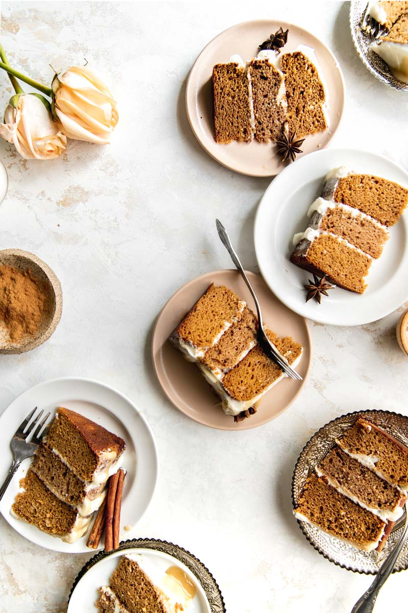 Fluffy and moist grain-free tahini spice cake topped with a salted tahini caramel and a vegan frosting. This gluten-free cake is naturally sweetened and perfect for fall!