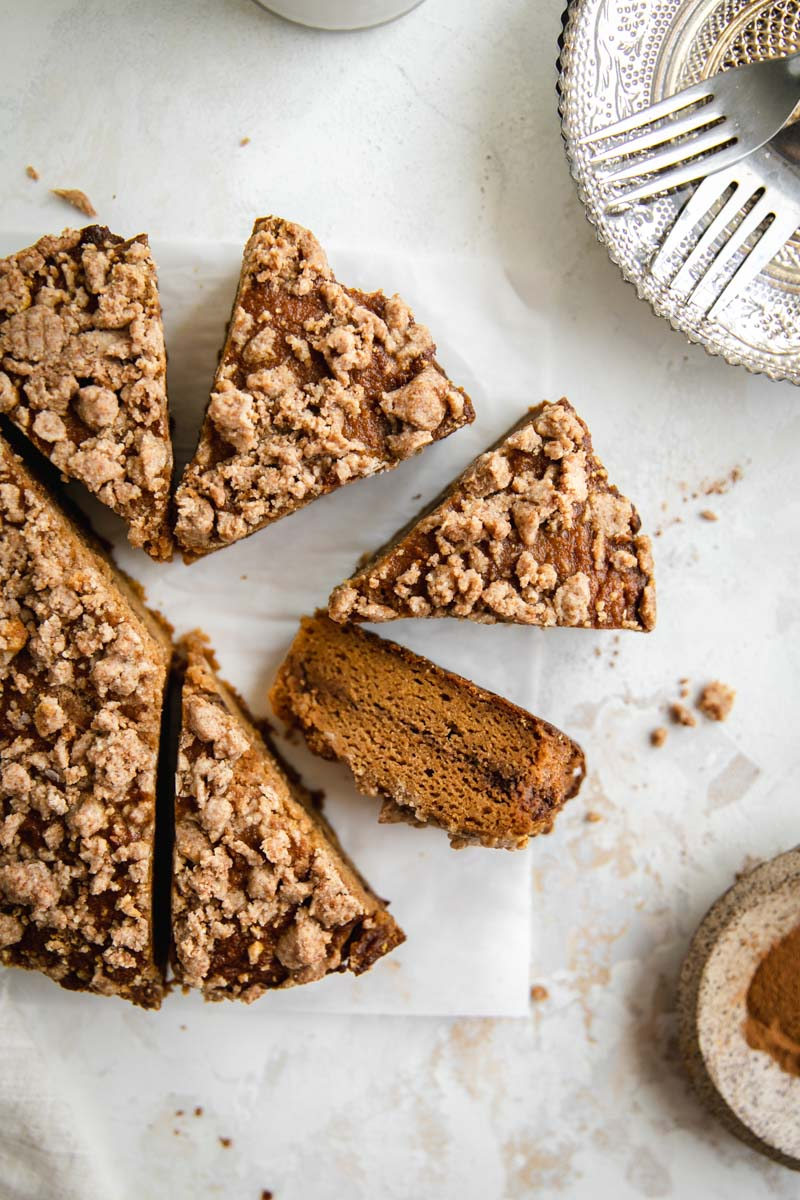 This Paleo Pumpkin Coffee Cake is made of a moist cassava flour pumpkin cake topped with the perfect cinnamon coffee cake streusel for a new gluten-free fall favorite!