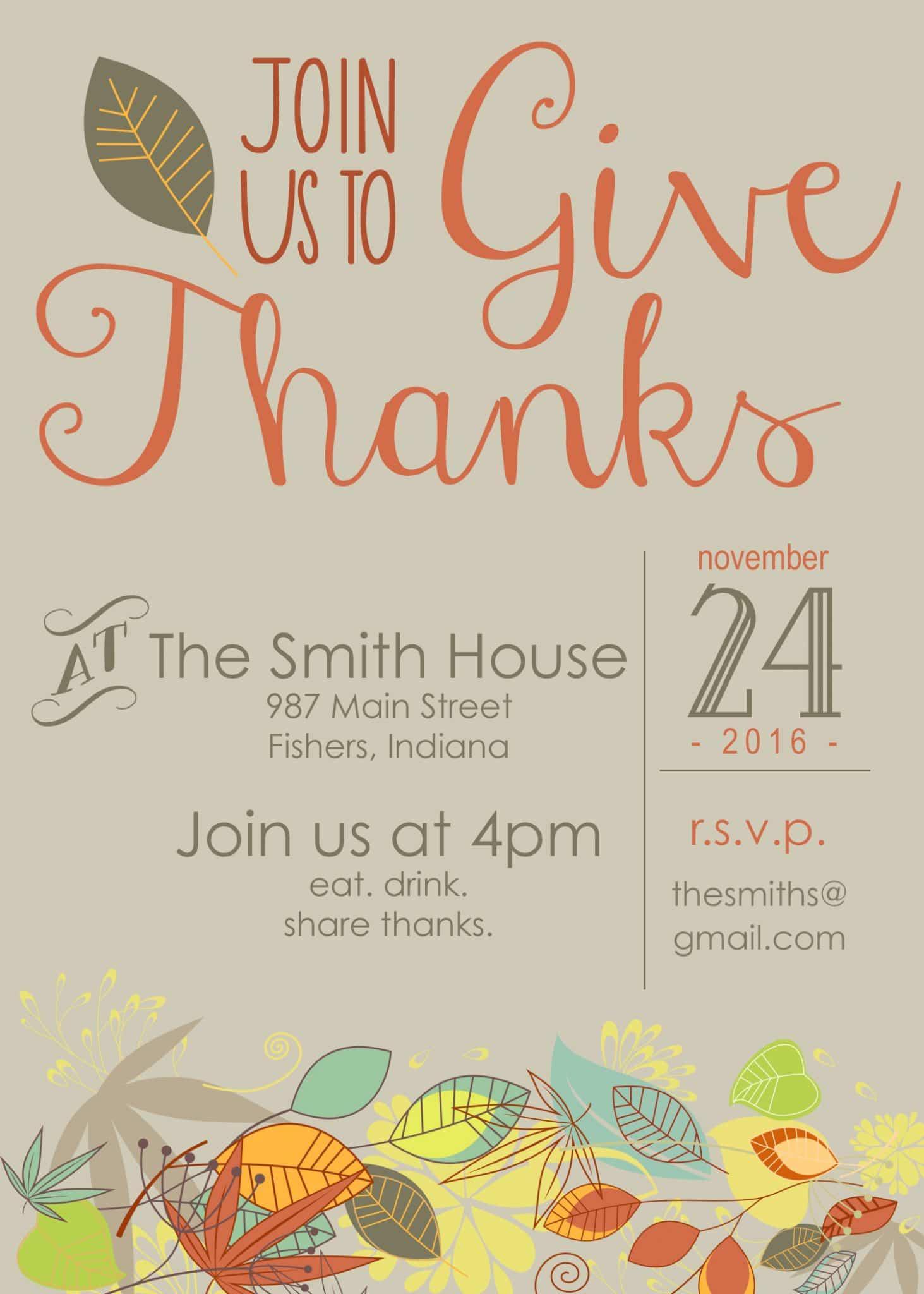 Customizable Thanksgiving Invitation