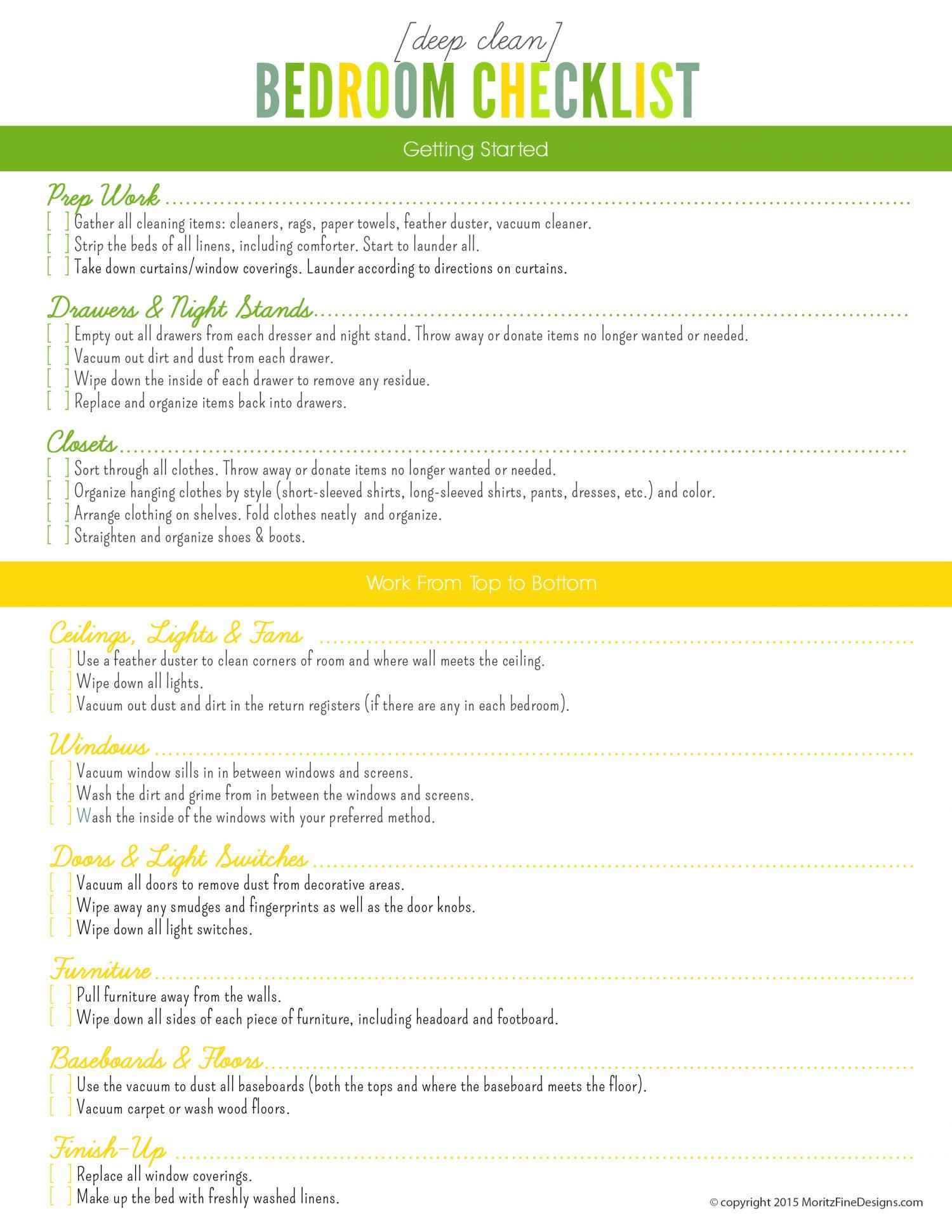 Deep Clean Bedroom Checklist