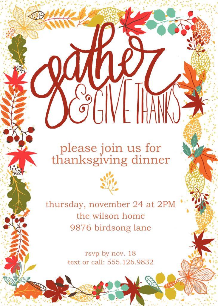 Customizable Thanksgiving Invitation Free Printable