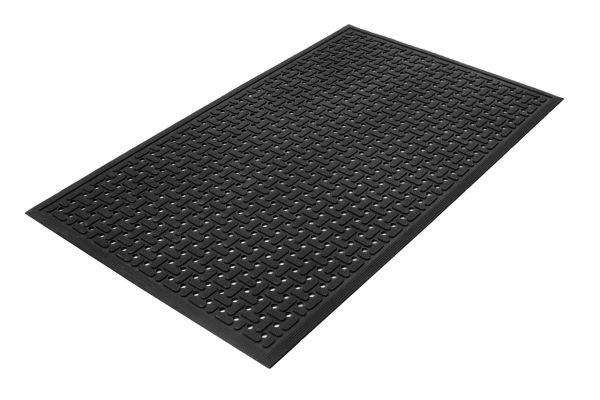 A single piece of Morland Service Anti bacterial rubber industrial doormat on a white background