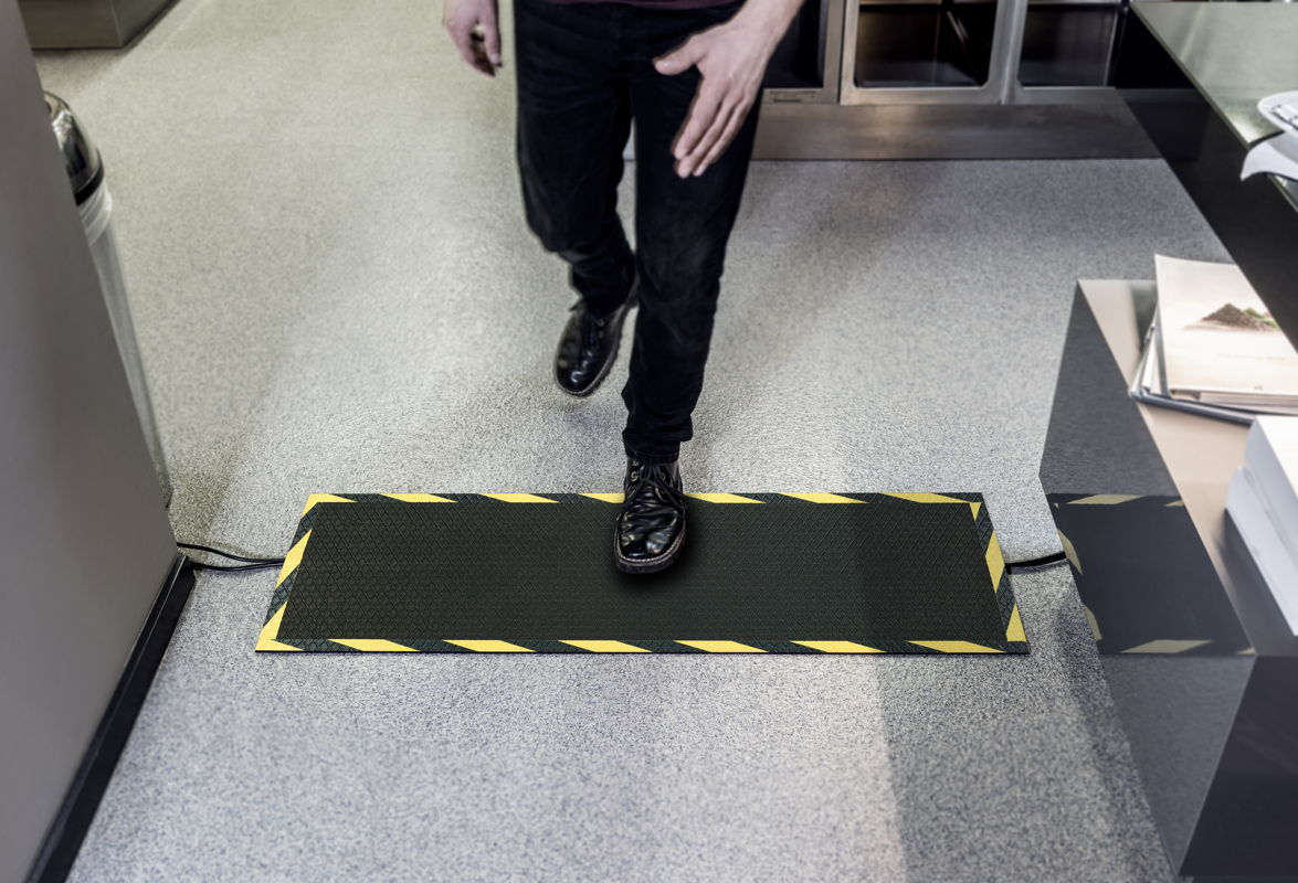 Morland Cable Protect Rubber Industrial mat, covering cables across a walkway
