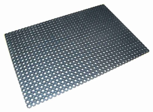 A single Morland Robust Industrial Rubber Doormat with full drainage holes on a white background