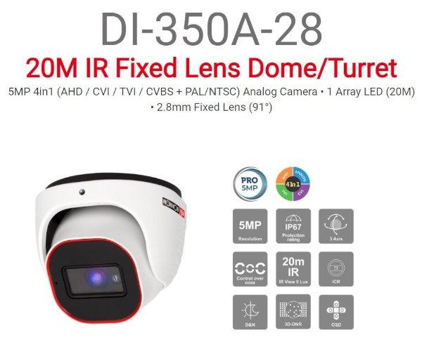 מצלמת כיפה Provision DI-350A28 5MP AHD 2.8 ICR IP67 thumbnail