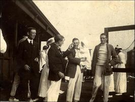 John H Brumfitt and offspring with other members at Morley Tennis Club, Scatcherd Lane, Morley