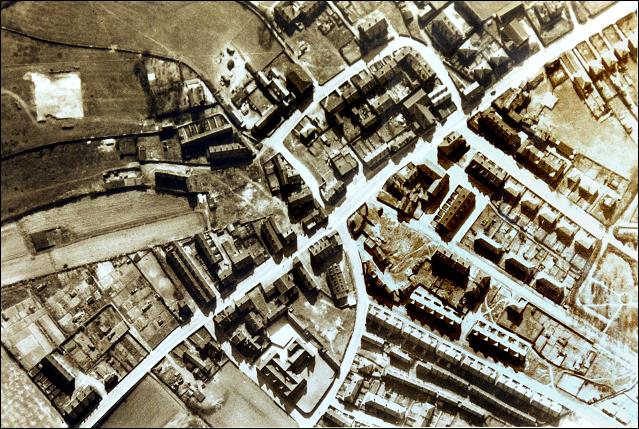 Aerial view over the centre of Churwell