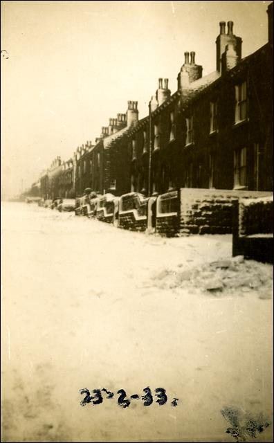 Looking up Bank Street during The Great Snowstorm in February 1933