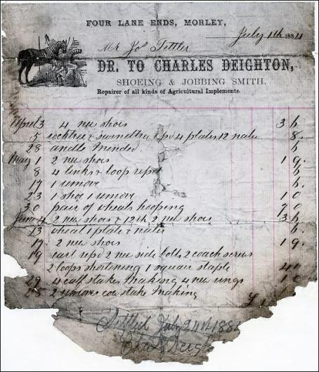 A bill to Mr Joe Tetley for repair of agricultural implements