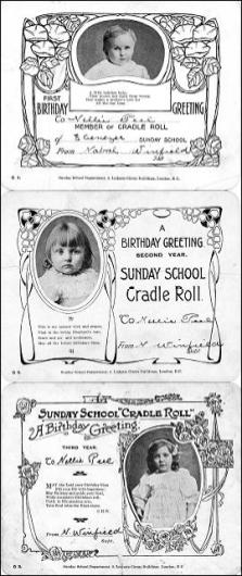 Three Sunday School Cradle Rolls from Ebenezer Chapel