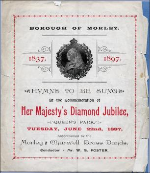 Hymn sheet for Queen Victoria's Diamond Jubilee celebrations at Queen's Park, Morley