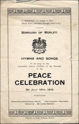 Songsheet for the Peace celebration at Morley Town Hall