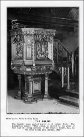 Photograph of the pulpit at St Mary's in the Wood Church