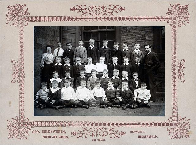 Class Photo of young boys and their teachers at the Wesleyan School