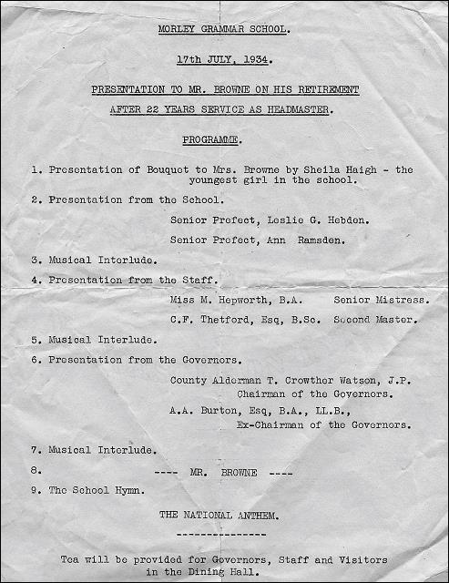 Details of a Presentation to H. B. Browne, a former headmaster of Morley Grammar School
