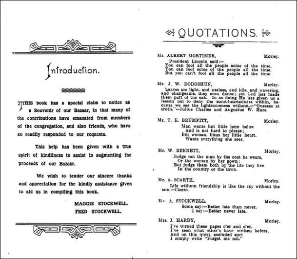 Quotations and recipes from 1910 Bazaar held in Morley Town Hall