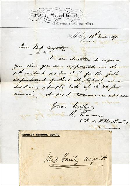 A letter to Miss Emily Asquith offering her a teaching position at Peel Street School