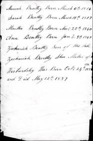 Details from the Family Bible of Manoah Bentley