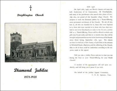 Diamond Jubilee programme, 1878 to1938 of Drighlington Church