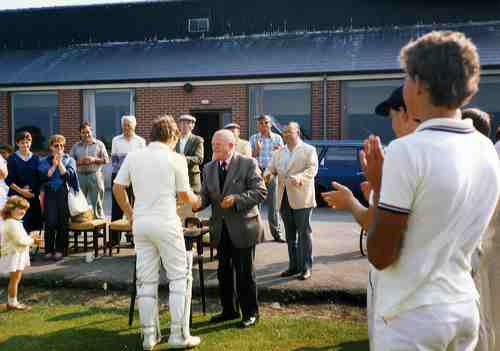 Mr George Atkinson presents the T.K. Brumfitt Cup