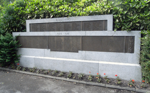 Names on the War Memorial from both World Wars